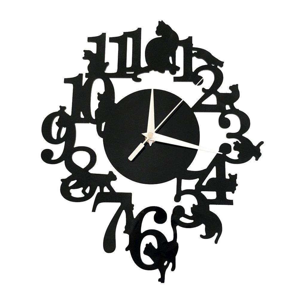 Forepin® Moderno Stile Deluxe Effetto Tridimensionale Grande 3D Sticker Orologio Senza Cornice per Casa Ufficio Hotel Ristorante Decorazione Vetro Acrilico Angelo e Farfalla Modello di Serie - Argento Modello 17
