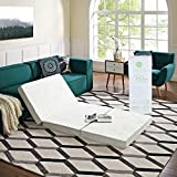 """Modway 4"""" Relax Twin XL Tri-Fold Mattress CertiPUR-US Certified with Soft Removable Cover and Non-Slip Bottom (39"""" x 80"""") - 10-Year Warranty"""