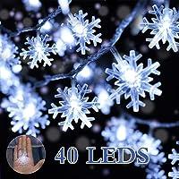 Luci a Fiocco di Neve, DIKI Catena Luminosa di Neve di Natale a Batteria 16.4FT 40 Luci Bianche a LED per Camera da Letto Festa Matrimonio Interno Corridoio Giardino Cortile Decorazione del Festival