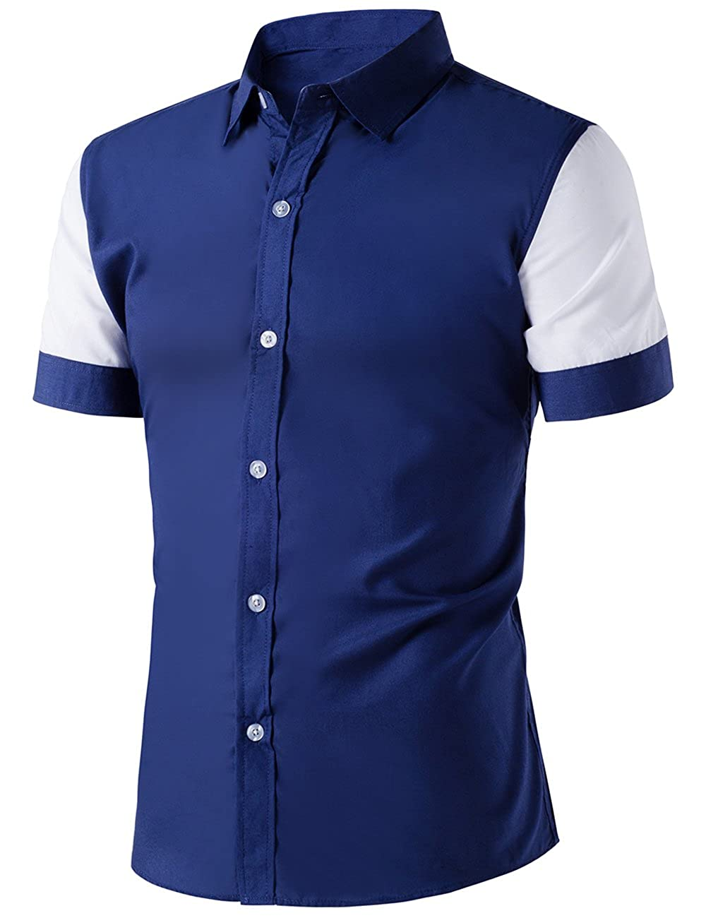 Xi Peng Mens Casual Button Down Contrast Color Short Sleeve Slim