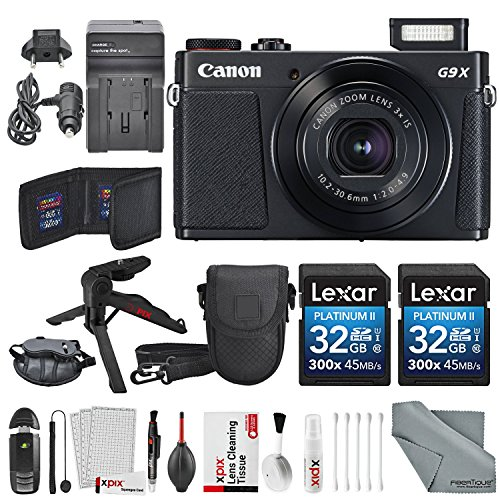 Canon PowerShot G9 X Mark II Digital Camera (Black) Deluxe Bundle W/ 2 X 32 GB SD Card + Table Top Tripod + AC/DC Turbo Travel + Wrist Grip Strap + Point and Shoot Camera Case + Xpix Cleaning Kit