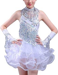 Daytwork Danza Abbigliamento Nappa Gonna Ragazze - Bambini Sequined Sala da Ballo Abiti Latino Salsa Tango Samba Rumba Competizione Costume Elegante