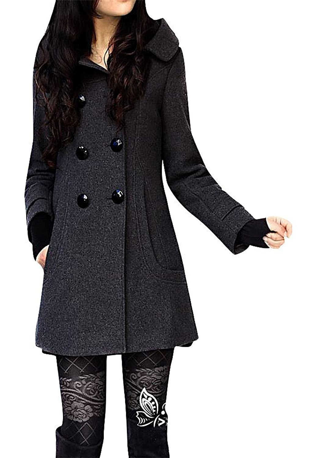 ALLEGRA Women's Trench Coat Mid Length Hooded Jacket Double Breasted Wool Blend