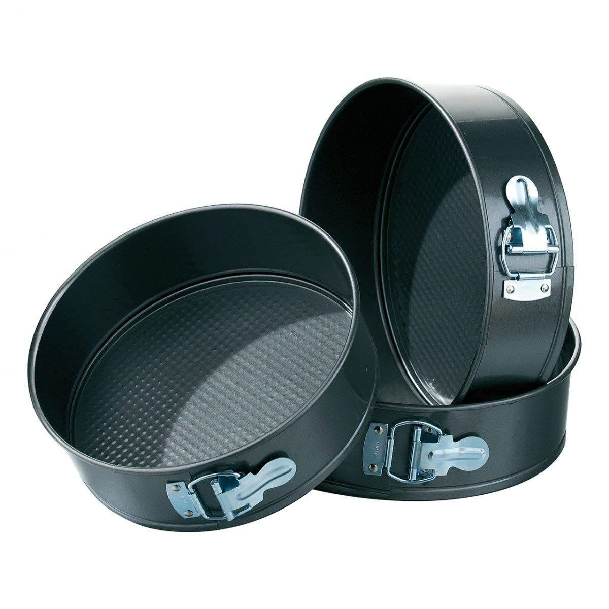 JOLLY Teflon Coated Springform Cake Mould Pan Set, 3-Pieces, Black