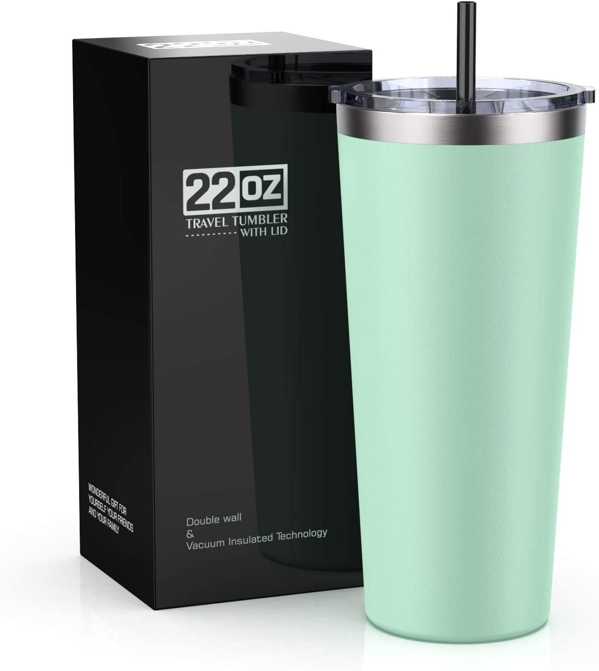 Bastwe 22oz Insulated Tumbler with Lid & Straw, Stainless Steel Coffee Cup, Double Wall Vacuum Insulated Travel Coffee Mug with Splash Proof Sliding Lid for Home & Office (Tiffany Blue)