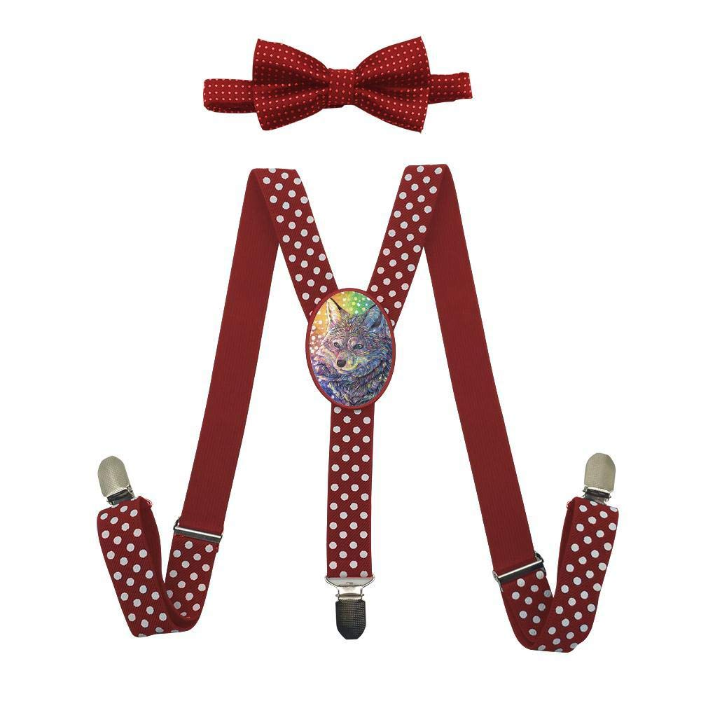 Qujki Rainbow Fox Suspenders Bowtie Set-Adjustable Length
