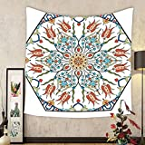 Gzhihine Custom tapestry Ambesonne Antique Decor Collection Ottoman Turkish Floral Pattern with Tulips Medieval Baroque Effect on Dated Islamic Art Print Bedroom Living Room Dorm Tapestry Multi