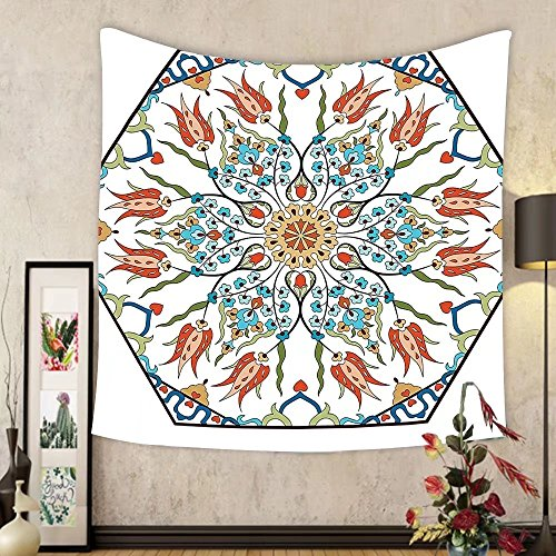 Gzhihine Custom tapestry Ambesonne Antique Decor Collection Ottoman Turkish Floral Pattern with Tulips Medieval Baroque Effect on Dated Islamic Art Print Bedroom Living Room Dorm Tapestry Multi by Gzhihine