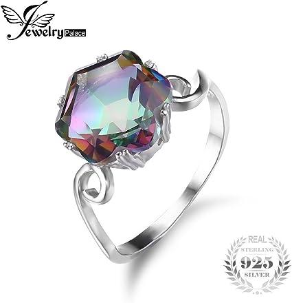 925 Silver Princess Cut Mystic Rainbow Topaz Wedding Engagement Ring Size 6-10