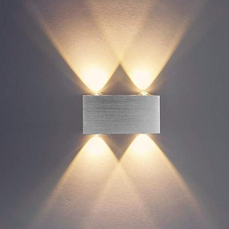 Louvra Lampada Interni Applique LED da Parete Moderna di Alluminio 4 LED  per Camera da Letto, Soggiorno, Bagno, Bianco Caldo
