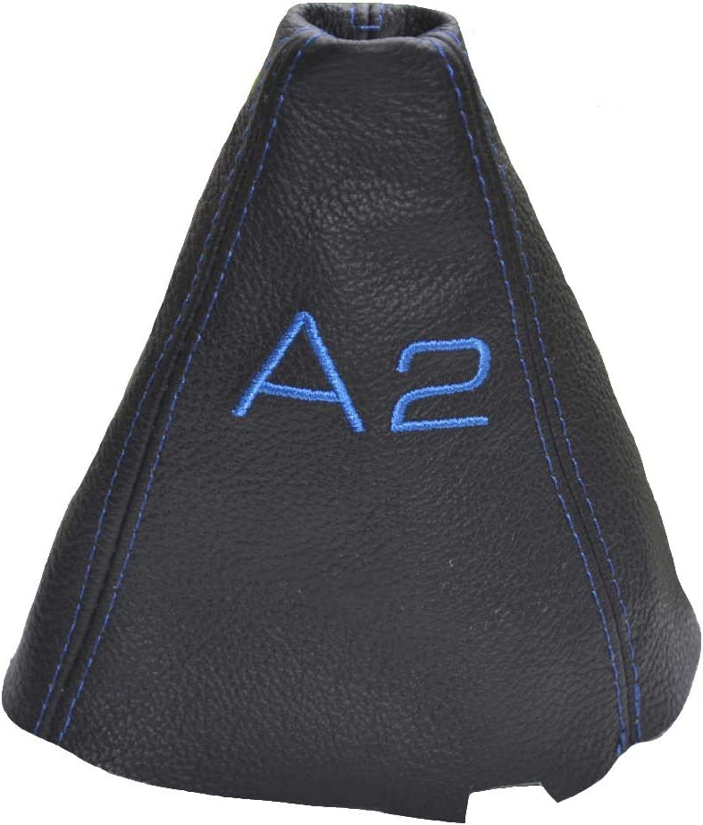 Gear Stick Gaiter Black Genuine Leather Blue A2 Embroidery