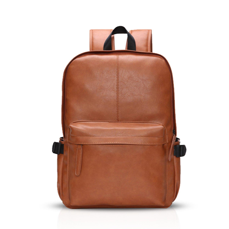 FANDARE Simple Backpack College Student Travel Party Business Rucksack 15.6 Inch Laptop Rucksack Men/Women Waterproof PU Brown