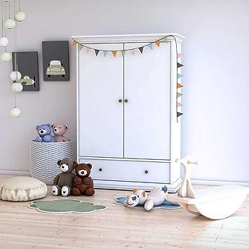 Pharao24 Kinderzimmer Kleiderschrank in Weiß 2 Türen: Amazon.de ...