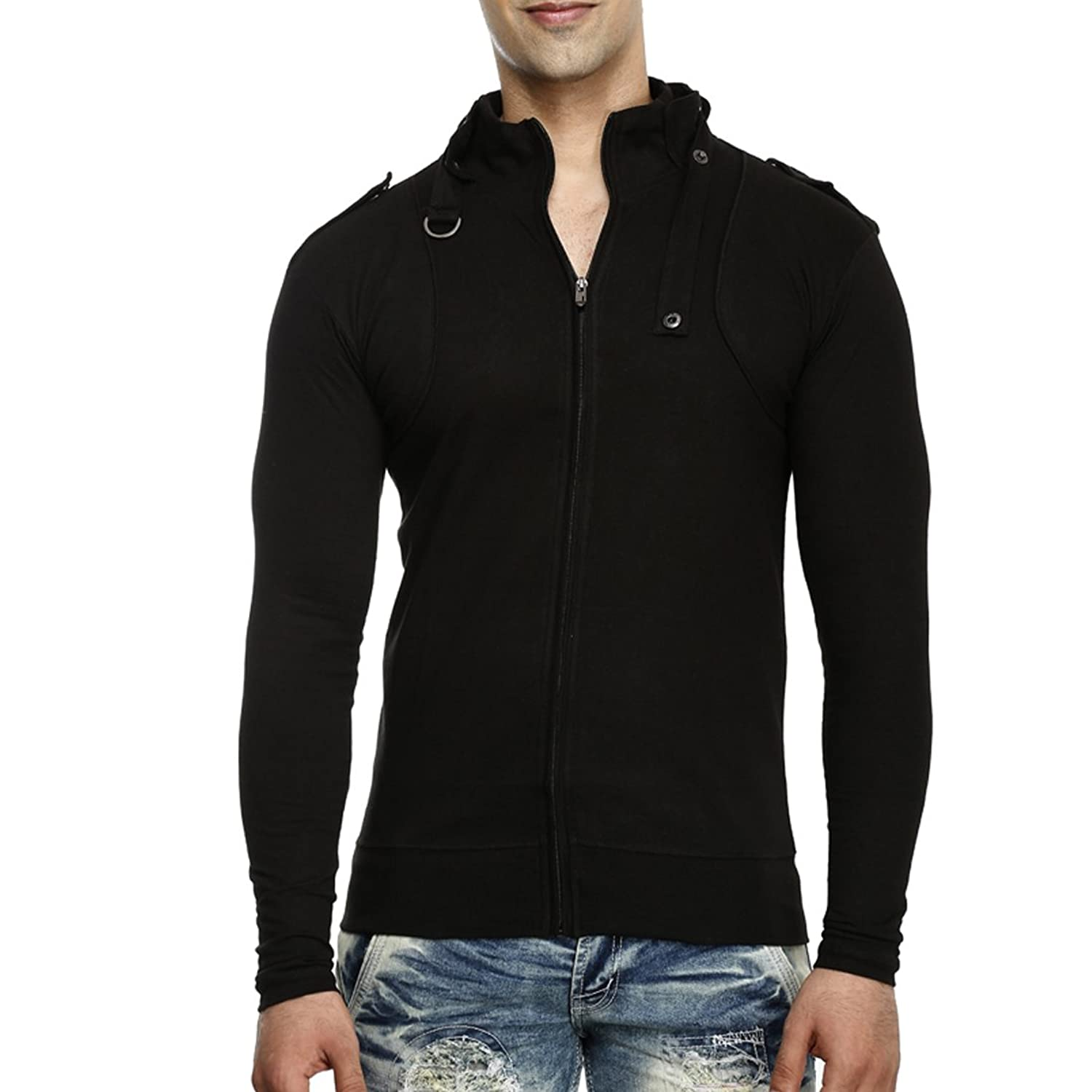 Tees Collection Men's Full Zip Buckle Neck Full Sleeve Black ...