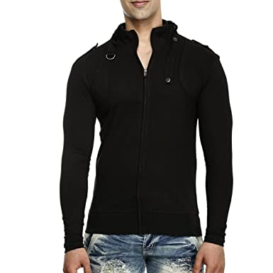 Tees Collection Men's Full Zip Buckle Neck Full Sleeve Black ...