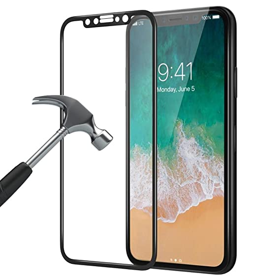 100% authentic 1a5a4 4af44 Amazon.com: 5D Full Coverage Screen Protector for iPhone X Tempered ...