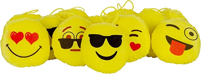 Jassi Toys Soft Fiber Stuff Small Smiley Character Toys (Yellow) - Pack of 12 Piece