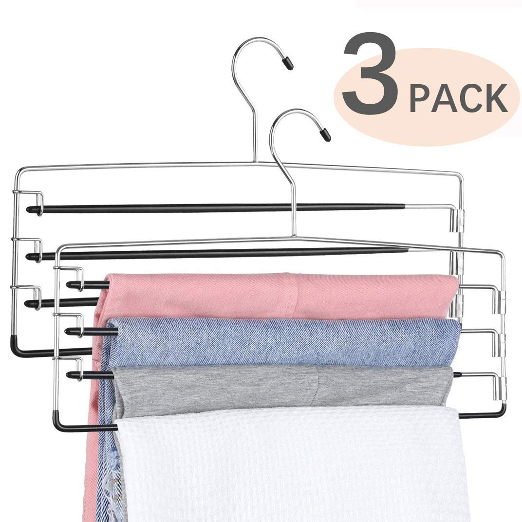 3 Pack FeeraHozer Pants Hangers Space Saving Non-Slip Multiple Multi Layers Closet Organizer for Men Women Jeans Trousers Scarf Clothes Hanging