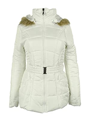 Rampage Faux-Fur-Trim Belted Puffer Coat Small White