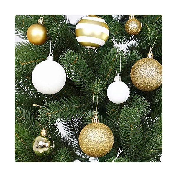 BAKAJI Confezione 100 Palline di Natale Diametro 3/4/6 cm Addobbi e Decorazioni per Albero di Natale (Bianco Oro) 5 spesavip