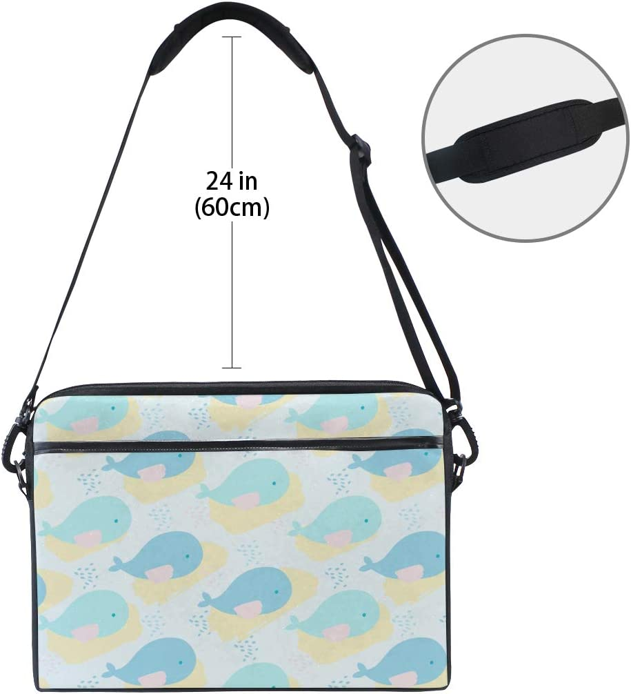 Briefcase Messenger Shoulder Bag for Men Women Laptop Bag Whales Abstract Spots 15-15.4 Inch Laptop Case College Students Business People Office Wo