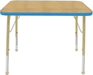 "product image for Creative Colors 24"" x 48"" Rectangular Activity Table with Maple Top, Bright Blue Edge, Ball Glide - Standard Leg Height: 21""-30"""