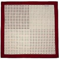 Lenço de bolso branco com bolas vermelhas
