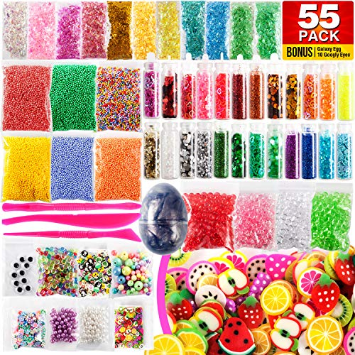 Slime Supplies Kit 55 Pack – Galaxy Egg, Googly Eyes, Glitter Shake Jars, Pearls, Wonderful Fruit Slices, Great Sugar Papers, Fantastic Fishbowl Beads, Foam Balls, Amazing Fun Tools for $<!--$14.90-->