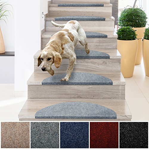 casa pura Stair Treads | Non-Slip Indoor Stair Protectors | Set of 15 Modern Step Mats for Hard Floor Staircase | Gray - 10