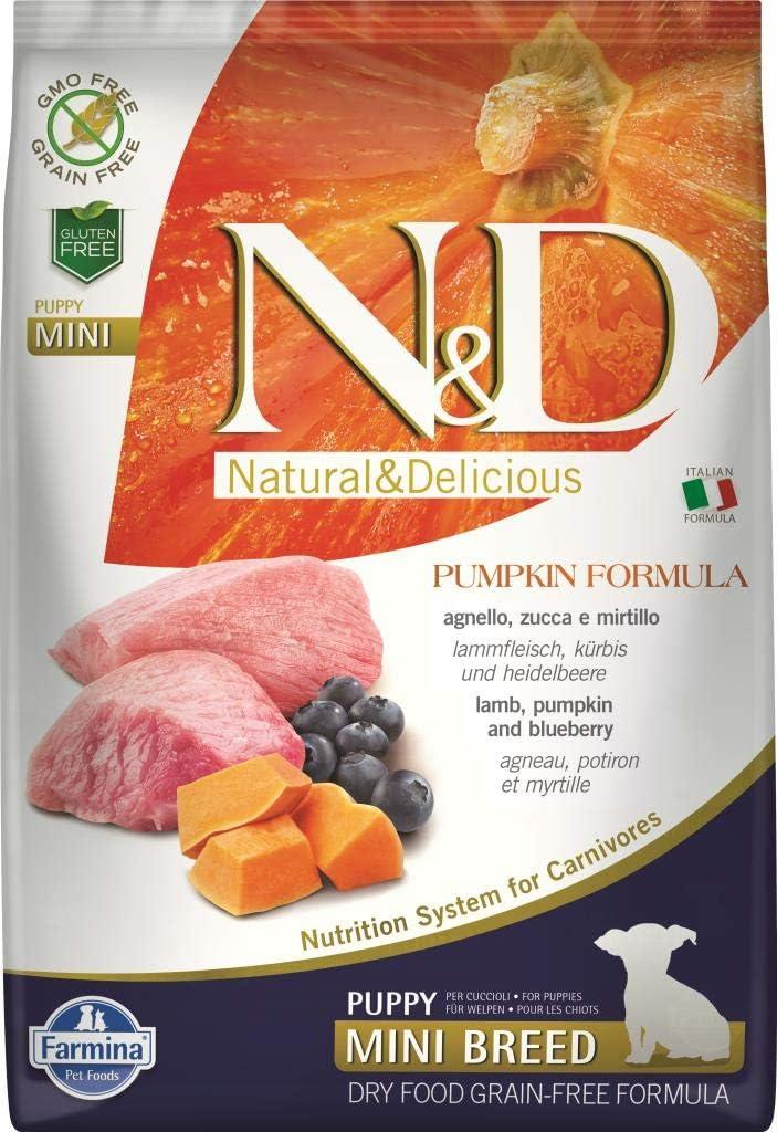 Farmina N D Dog Dry Puppy Grain Free Pumpkin Mini Lamb Blueberry 15.4 Pounds