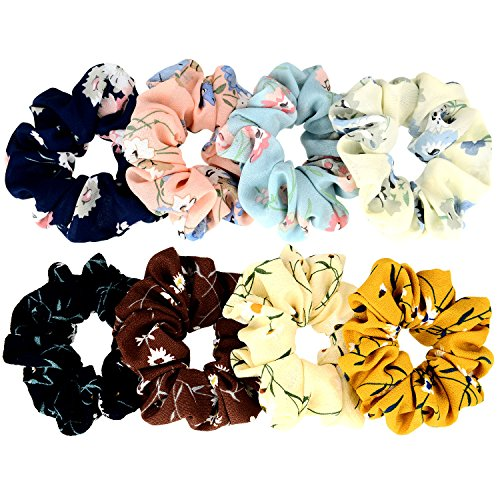 TOODOO 8 Pieces Hair Scrunchies Bobbles Hair Bands Ponytail Chiffon Holder (Color Set 1)