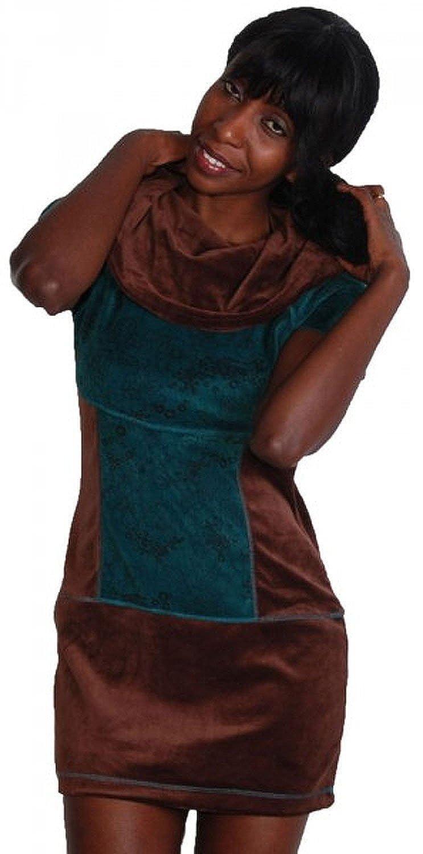 Boho Tunika Minikleid Longshirt mit Rollkragen