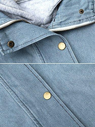 OCHENTA Mujeres Abrigo Outwear Blazers Tops Capa Manga Larga Chamarra Doble Denim Otoño Invierno Capucha Coat Jacket Sportswear azul