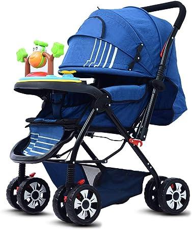 Opinión sobre baby stroller Cochecito de bebé Plegable, Cuna portátil, Apto para bebés de 0 a 36 Meses, Asiento Alargado y ensanchado, Respaldo/Pedal/Capota Ajustable, Rodillos amortiguadores para Evitar Golpes