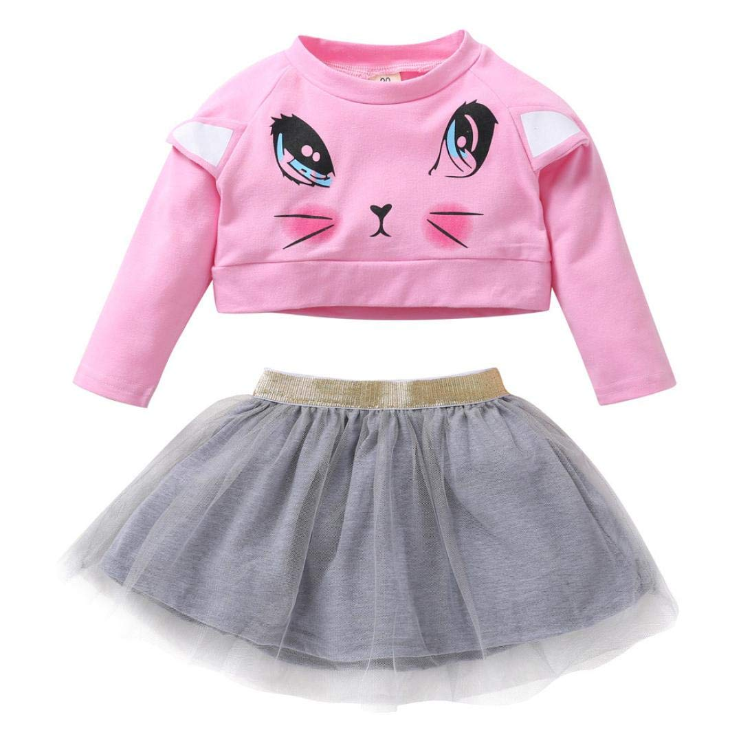 Skirt Sets for 0-5 Y Little Kids,Jchen(TM) Newborn Kids Baby Girl Long Sleeve Short Tops+Skirt Outfits (Age: 3-4 Years Old)