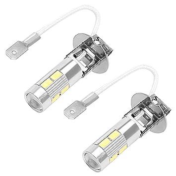 Bombilla LED H3 de 5 W para coche, luz antiniebla, color blanco: Amazon.es: Coche y moto