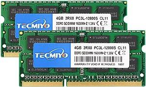 TECMIYO 8GB Kit (2 x 4GB) DDR3L-1600 SODIMM, DDR3 PC3-12800 Non ECC Unbuffered 1.35V/1.5V CL11 2RX8 Dual Rank for Laptops Notebook