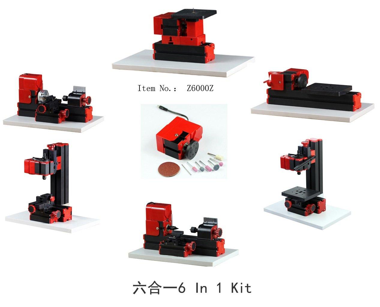 Metal Working Lathe Motorized Mini Metal Working Lathe Machine DIY Tool 6 In 1 Basic Mini Machine Kit Box For Hobby Sience Education Modelmaking