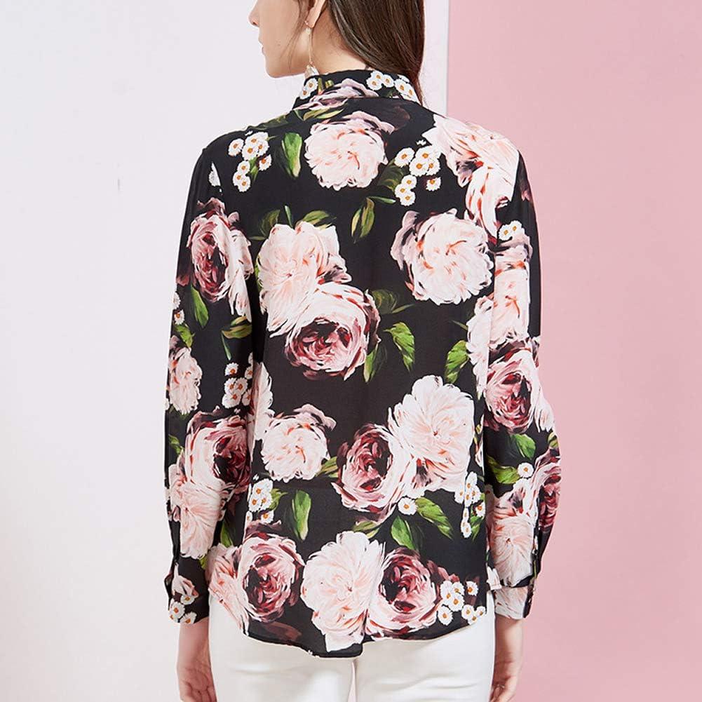 Valin V7093A Silk Women Blouse Top Shirt Collar Long Sleeve Slim Shirt Silk Shirt Top Black