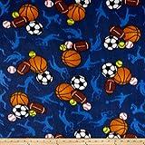 Polar Fleece All Sports Dark Blue Fabric By The Yard