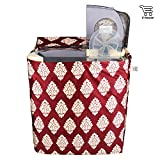 E-Retailer Classic Maroon Flower Design Semi-Automatic Washing Machine Cover 5 KG To 8 KG Capacity