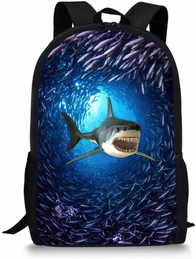 Showudesigns Shark Backpack for Primary Boys Girls Ocean Bookbag Elementary School Kids Back Bag Blue Animal Bagpack