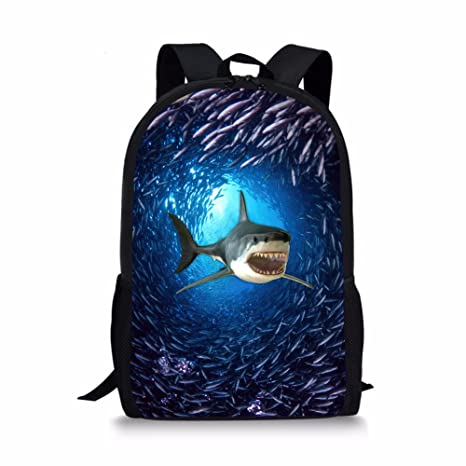9a1cadce3d58 Showudesigns Blue Animal Shark Backpack for Primary Boys Girls Ocean  Bookbags
