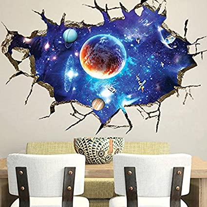 Amazon Com 3d Outer Space Wall Stickers Home Decor Mural Art