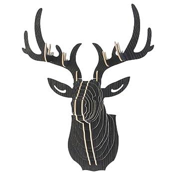 Mochiglory 3D Wooden Puzzle Model Elk Deer Head Wall Decor Animal Sculpture  Ornament Wall Art Decor
