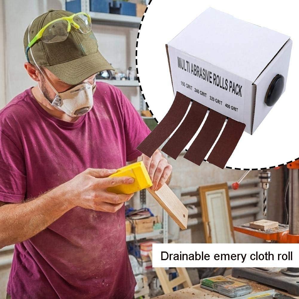 Automobile Domilay/4 Rouleaux de Pon/çAge Bande de Tissu /éMeri Extensible Sabl/é Zone de Ceinture Abrasive S/èChe Ceintures de Meulage en Bois pour Rouleaux de Bois