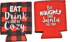NFA Christmas Holiday Can Cooler Sleeve Buffalo plaid Red Silver Printed Reusable Collapsible Drink Caddies Can Beer Holder For Beverages Set of 2, 4 in. x 5 in. Each