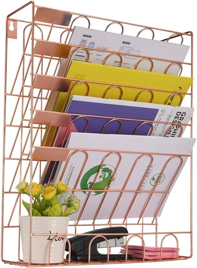 Spacrea Hanging File Holder Organizer - 6 Tier Wall Mount File Organizer for Women, Hanging Wall File for Office, School or Home, Rose Gold