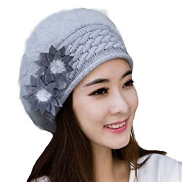pengyu- Gorro de Punto con diseño de Flores de Invierno para Mujer ...