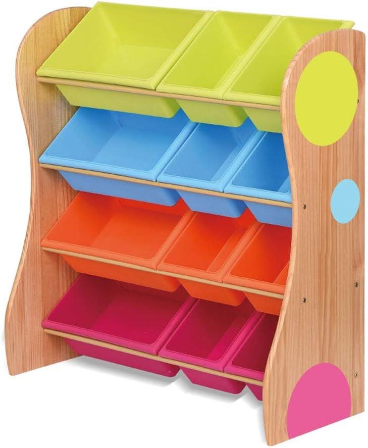 子供用おもちゃ収納ラック Playroomの子供の寝室のための色のプラスチック大箱の棚の引出しが付いているおもちゃの貯蔵のオルガナイザー (色 : Primary color, サイズ : 86cm)
